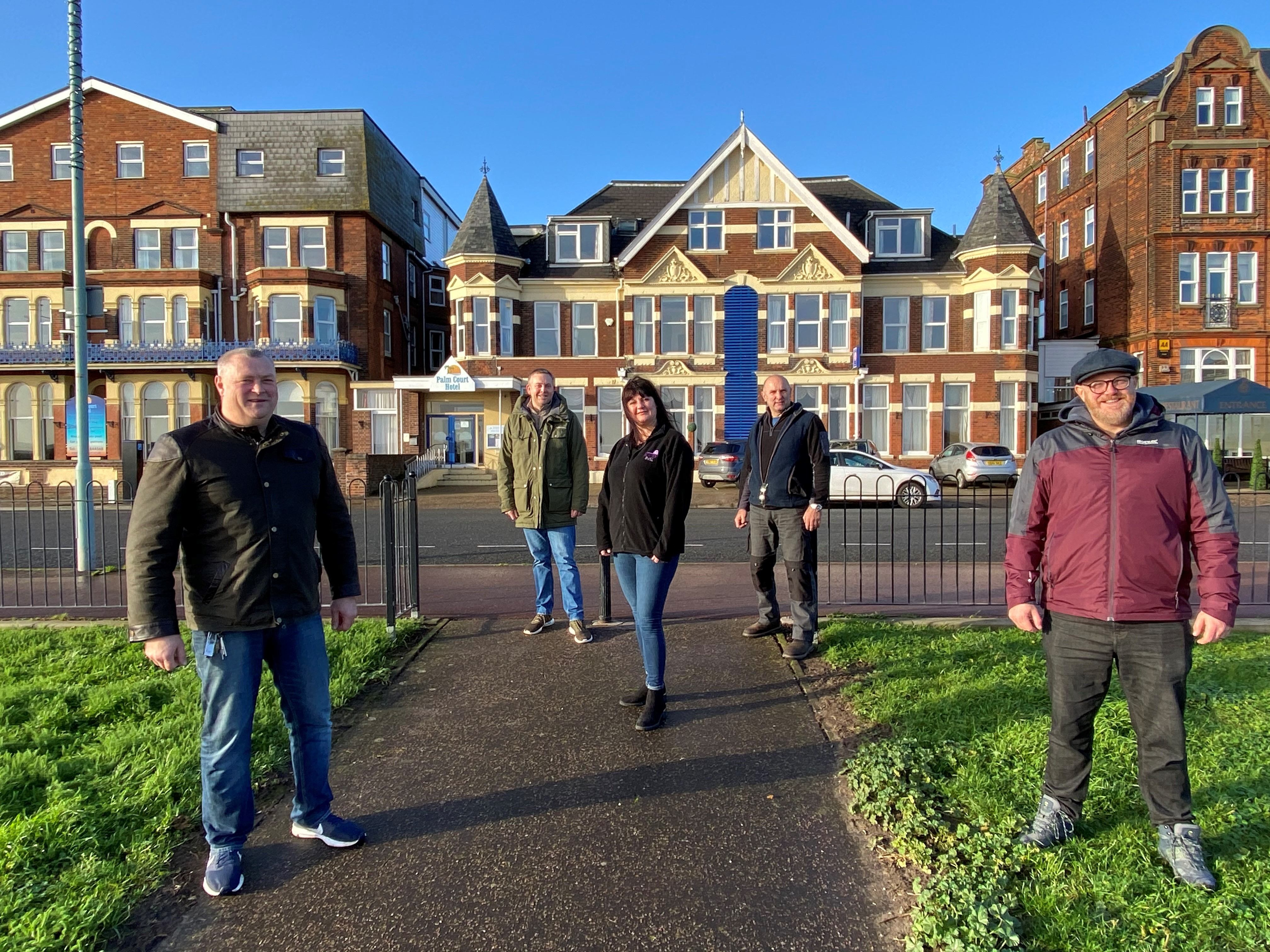 Left to right: Jason Delf, Nigel Carter, Tessa Fennell, Nick Delf and Scott Barnes are some of the team from Palm Court Hotel and Marine Lodge in Great Yarmouth taking part in a 10-mile sponsored walk to raise money for the Salvation Army's Christmas Appeal.
